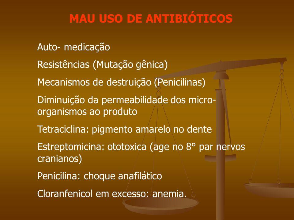 MAU USO DE ANTIBIÓTICOS Auto- medicação Resistências (Mutação gênica) Mecanismos de destruição (Penicilinas) Diminuição da permeabilidade dos micro- organismos ao produto Tetraciclina: pigmento amarelo no dente Estreptomicina: ototoxica (age no 8° par nervos cranianos) Penicilina: choque anafilático Cloranfenicol em excesso: anemia.