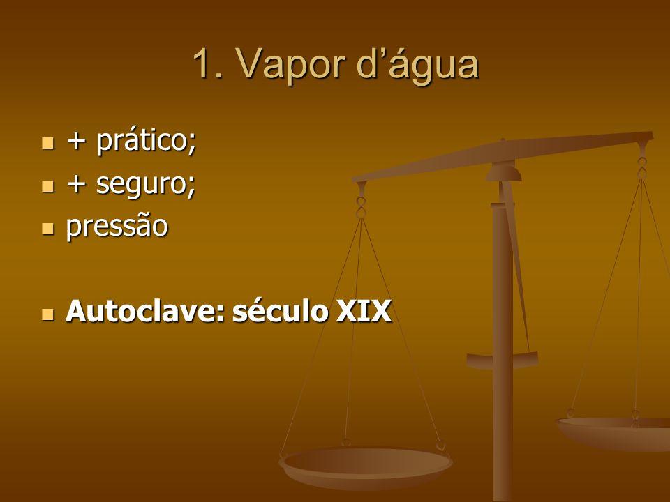 1. Vapor d'água + prático; + prático; + seguro; + seguro; pressão pressão Autoclave: século XIX Autoclave: século XIX