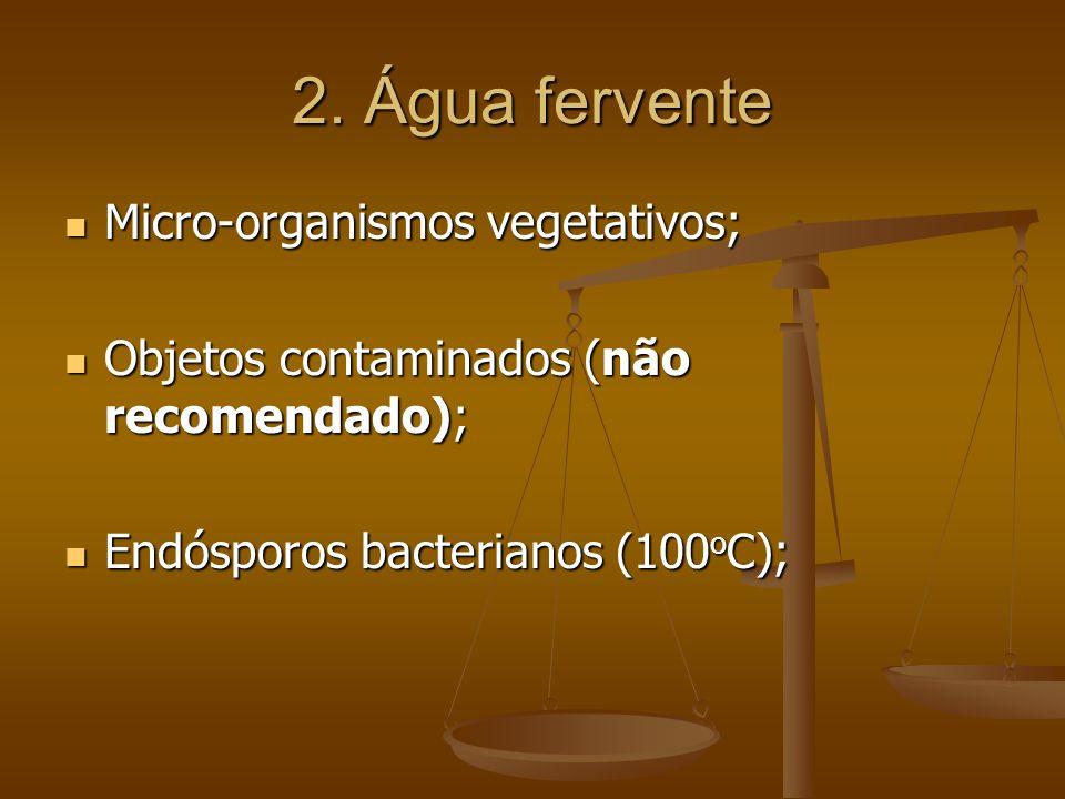 2. Água fervente Micro-organismos vegetativos; Micro-organismos vegetativos; Objetos contaminados (não recomendado); Objetos contaminados (não recomen