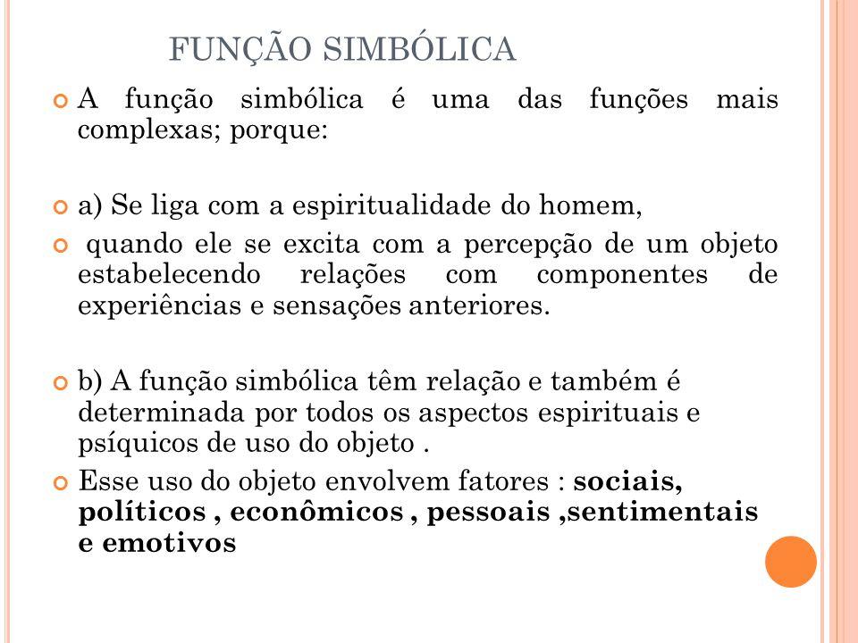 FUNÇÃO SIMBÓLICA A função simbólica é uma das funções mais complexas; porque: a) Se liga com a espiritualidade do homem, quando ele se excita com a pe