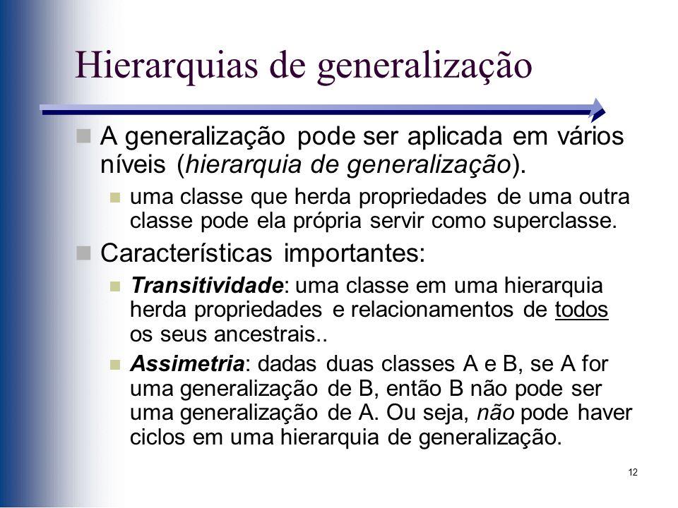 12 Hierarquias de generalização A generalização pode ser aplicada em vários níveis (hierarquia de generalização). uma classe que herda propriedades de