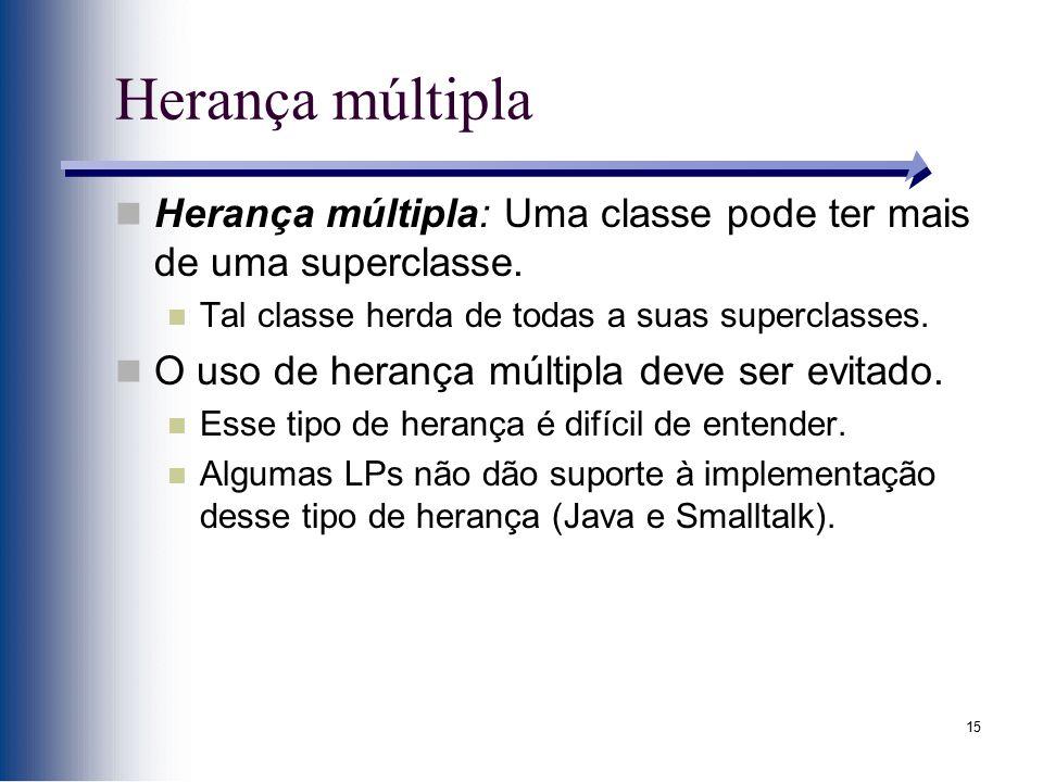 15 Herança múltipla Herança múltipla: Uma classe pode ter mais de uma superclasse. Tal classe herda de todas a suas superclasses. O uso de herança múl