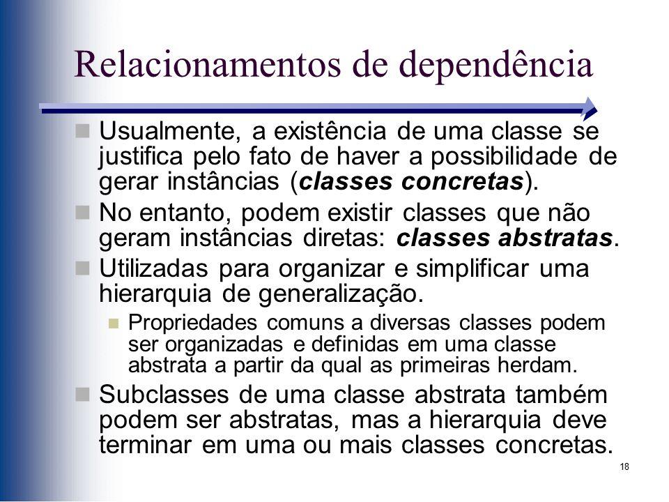 18 Relacionamentos de dependência Usualmente, a existência de uma classe se justifica pelo fato de haver a possibilidade de gerar instâncias (classes