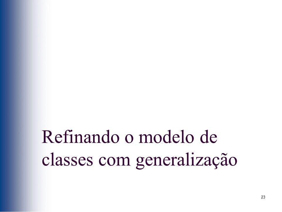 23 Refinando o modelo de classes com generalização