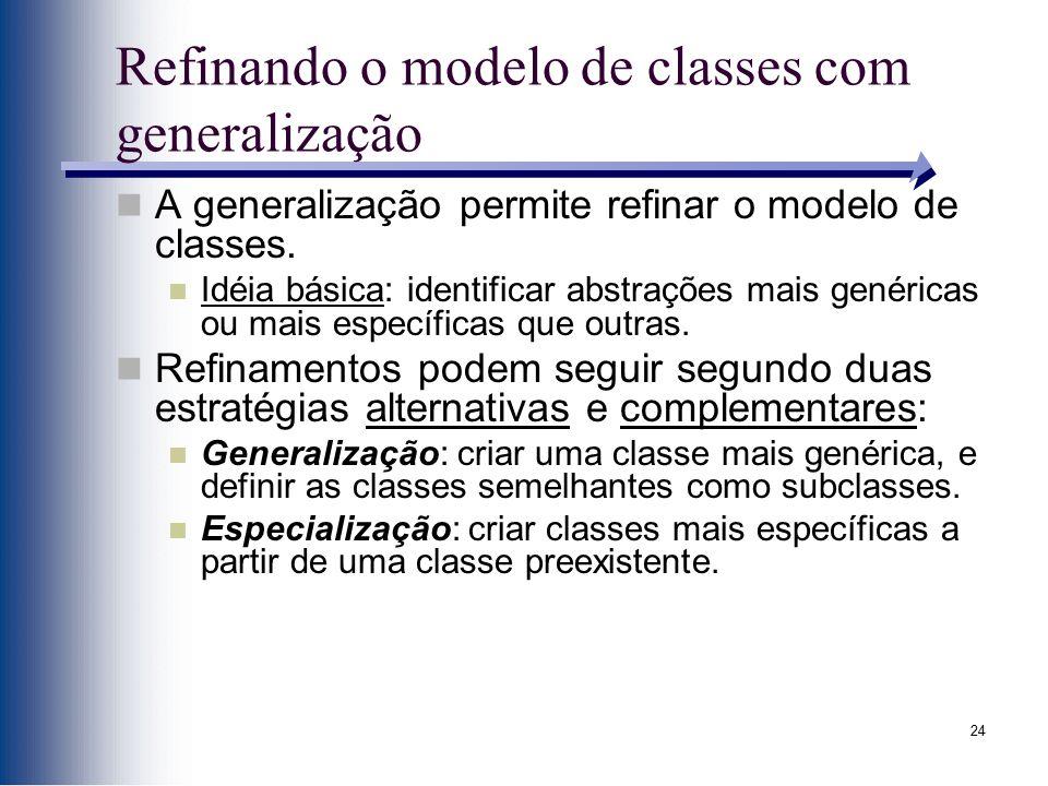 24 Refinando o modelo de classes com generalização A generalização permite refinar o modelo de classes. Idéia básica: identificar abstrações mais gené