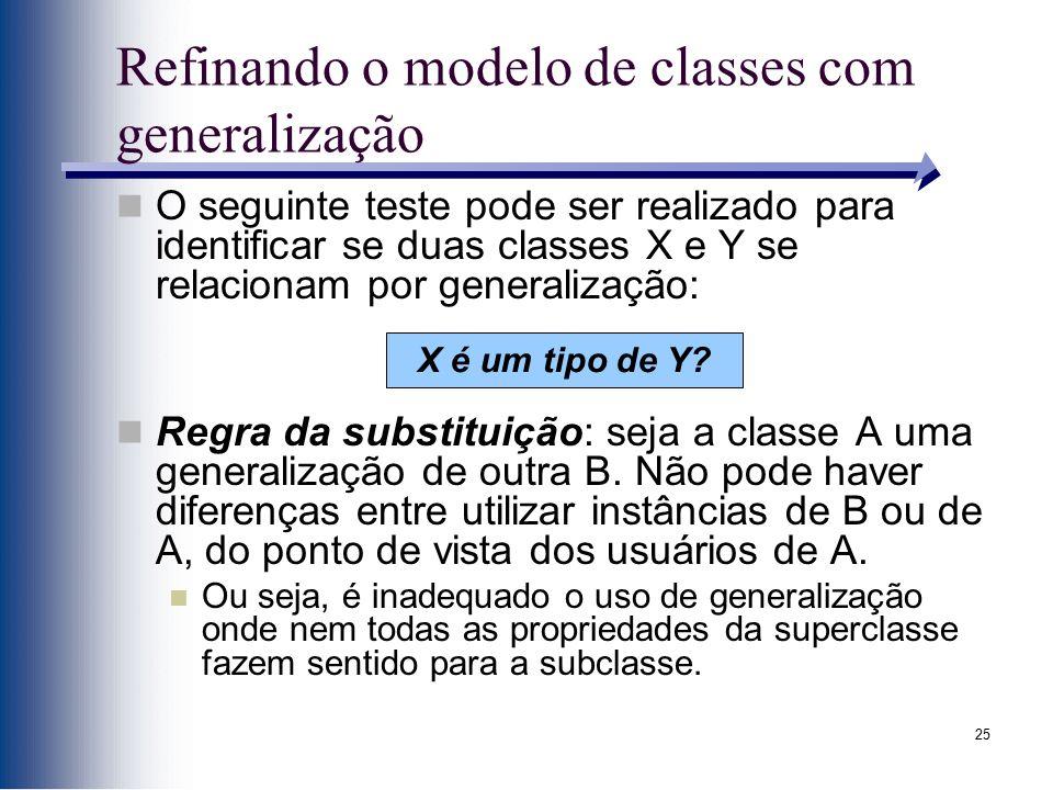 25 Refinando o modelo de classes com generalização O seguinte teste pode ser realizado para identificar se duas classes X e Y se relacionam por genera