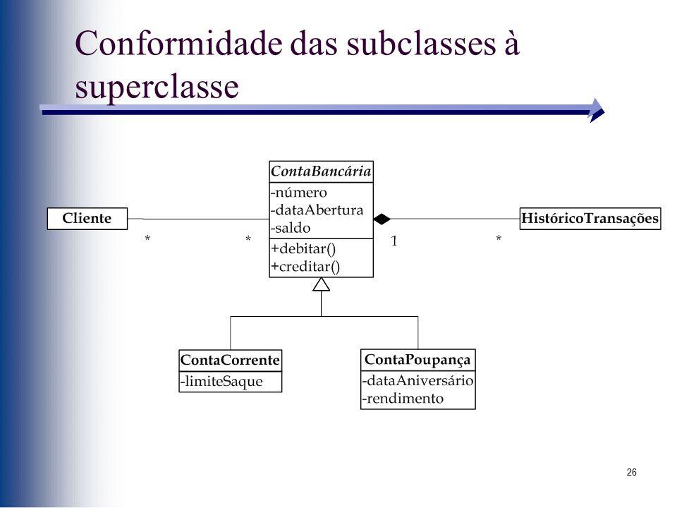 26 Conformidade das subclasses à superclasse