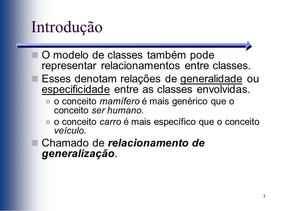 3 Introdução O modelo de classes também pode representar relacionamentos entre classes. Esses denotam relações de generalidade ou especificidade entre