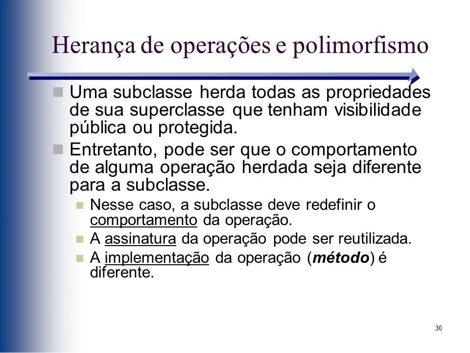 30 Herança de operações e polimorfismo Uma subclasse herda todas as propriedades de sua superclasse que tenham visibilidade pública ou protegida. Entr