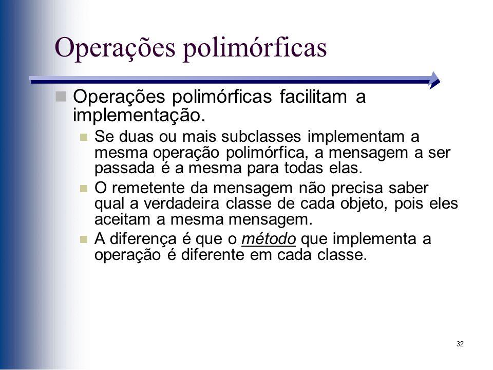 32 Operações polimórficas Operações polimórficas facilitam a implementação. Se duas ou mais subclasses implementam a mesma operação polimórfica, a men