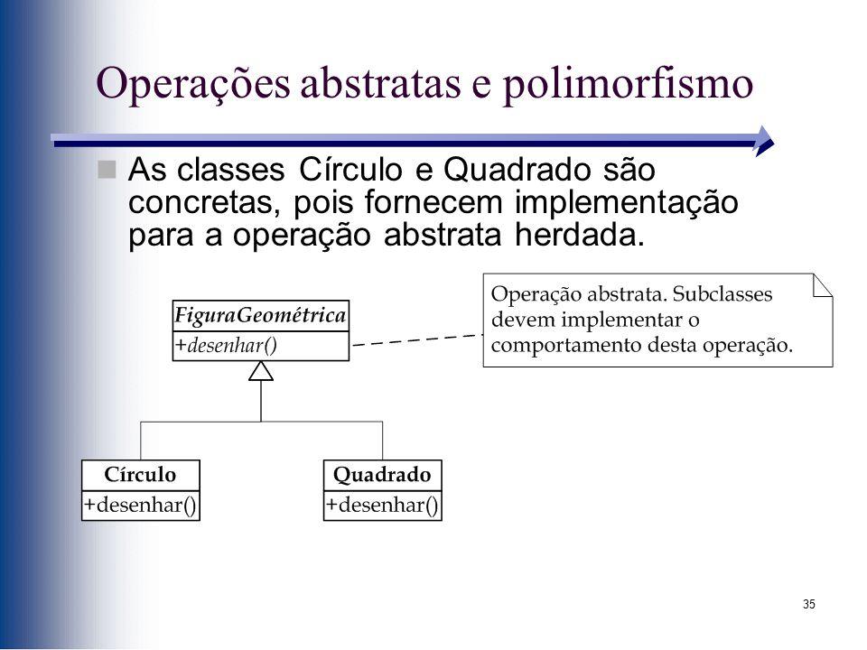 35 Operações abstratas e polimorfismo As classes Círculo e Quadrado são concretas, pois fornecem implementação para a operação abstrata herdada.