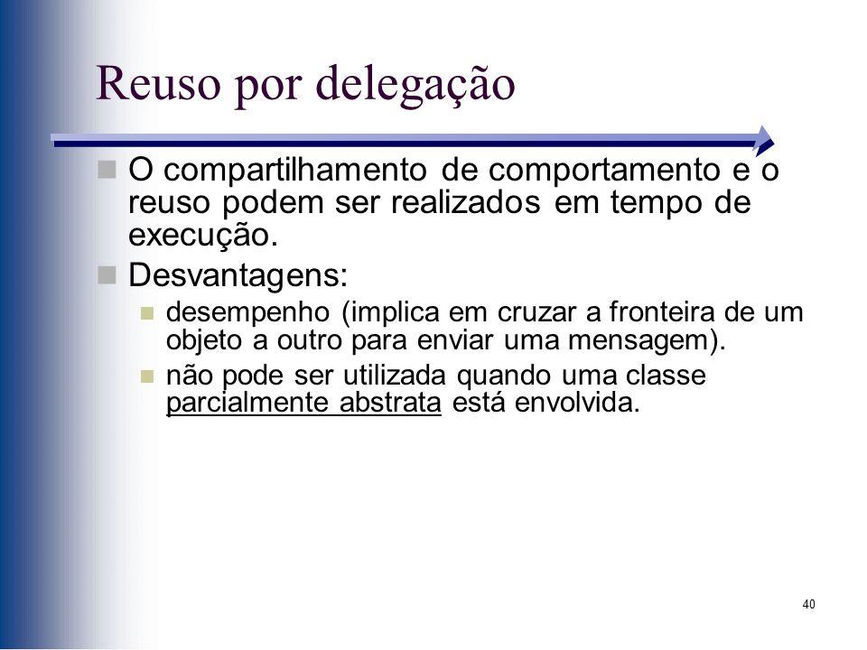 40 Reuso por delegação O compartilhamento de comportamento e o reuso podem ser realizados em tempo de execução. Desvantagens: desempenho (implica em c