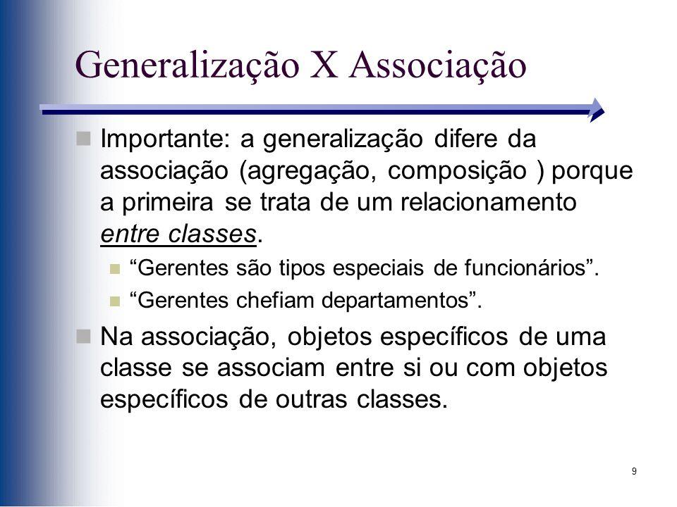 9 Generalização X Associação Importante: a generalização difere da associação (agregação, composição ) porque a primeira se trata de um relacionamento
