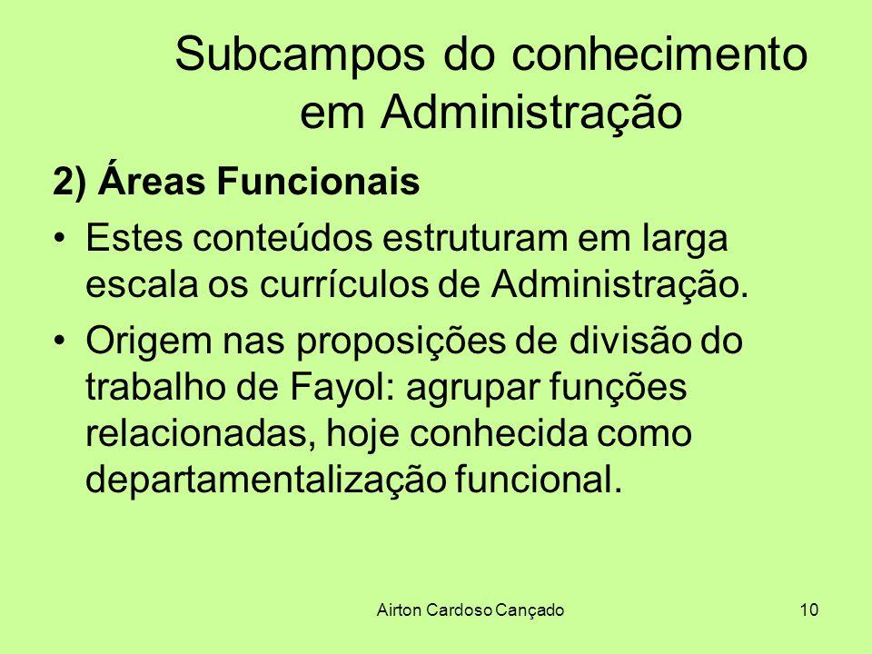 Airton Cardoso Cançado10 Subcampos do conhecimento em Administração 2) Áreas Funcionais Estes conteúdos estruturam em larga escala os currículos de Ad