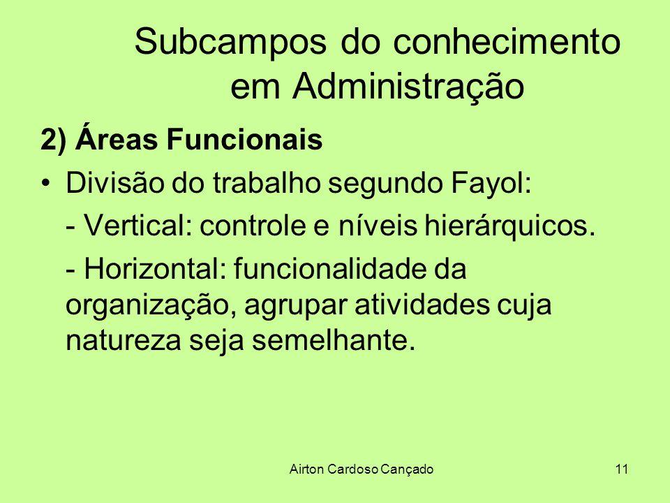 Airton Cardoso Cançado11 Subcampos do conhecimento em Administração 2) Áreas Funcionais Divisão do trabalho segundo Fayol: - Vertical: controle e níve