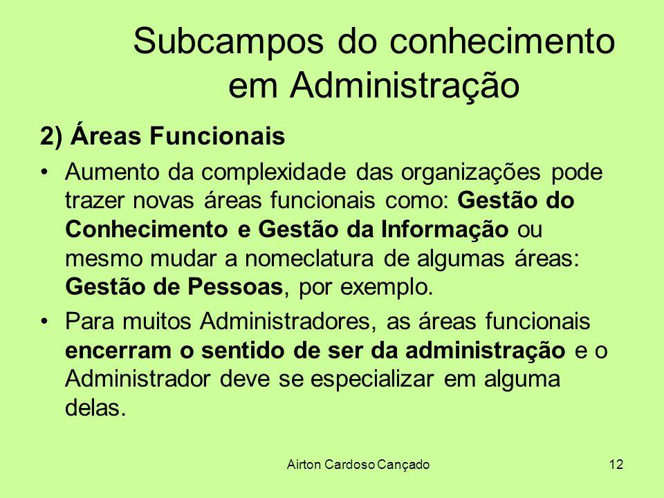 Airton Cardoso Cançado12 Subcampos do conhecimento em Administração 2) Áreas Funcionais Aumento da complexidade das organizações pode trazer novas áre