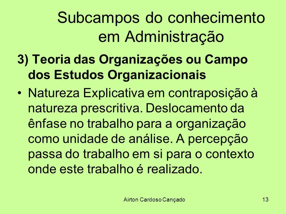 Airton Cardoso Cançado13 Subcampos do conhecimento em Administração 3) Teoria das Organizações ou Campo dos Estudos Organizacionais Natureza Explicati