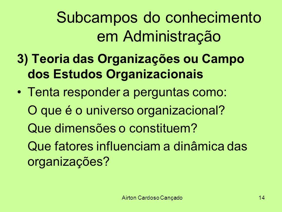 Airton Cardoso Cançado14 Subcampos do conhecimento em Administração 3) Teoria das Organizações ou Campo dos Estudos Organizacionais Tenta responder a