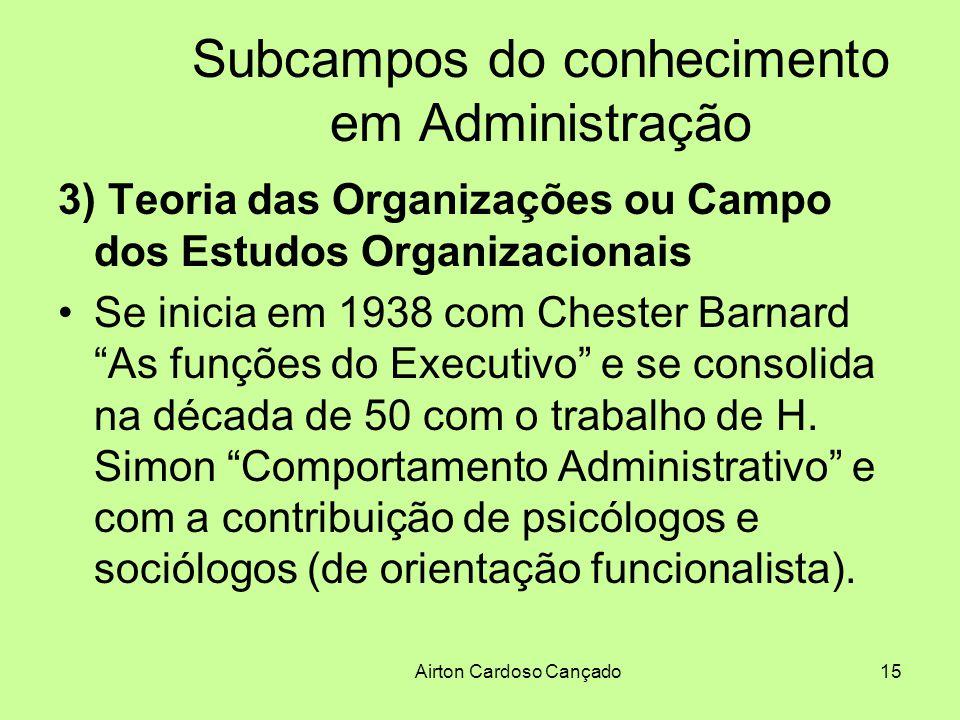 Airton Cardoso Cançado15 Subcampos do conhecimento em Administração 3) Teoria das Organizações ou Campo dos Estudos Organizacionais Se inicia em 1938