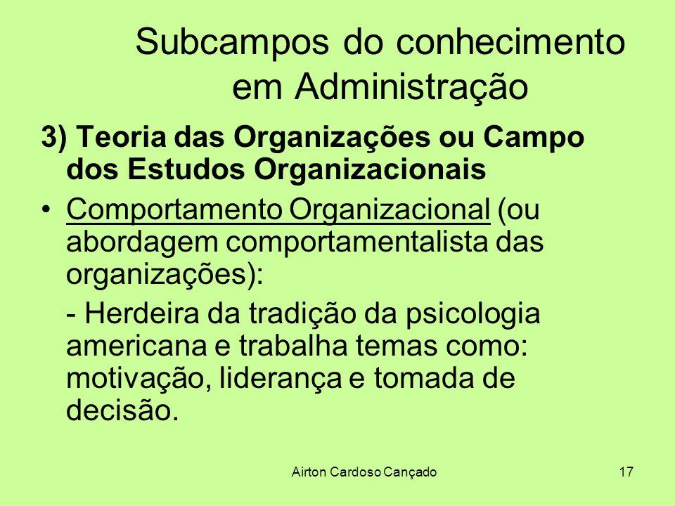 Airton Cardoso Cançado17 Subcampos do conhecimento em Administração 3) Teoria das Organizações ou Campo dos Estudos Organizacionais Comportamento Orga