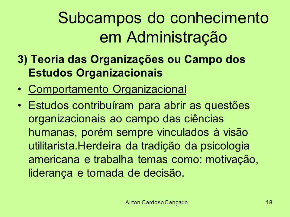 Airton Cardoso Cançado18 Subcampos do conhecimento em Administração 3) Teoria das Organizações ou Campo dos Estudos Organizacionais Comportamento Orga