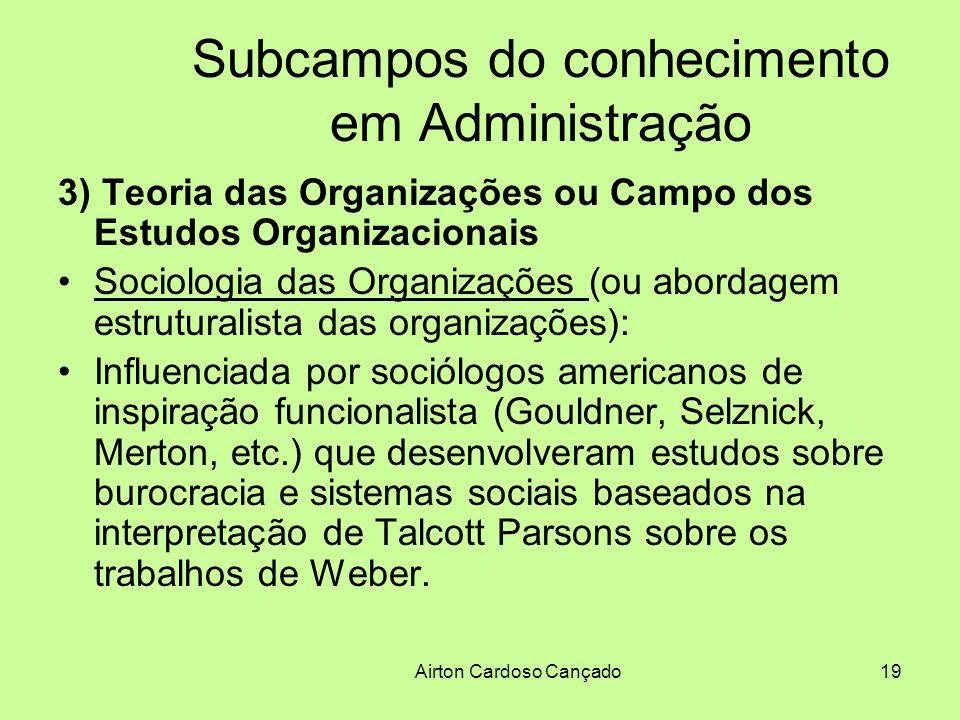 Airton Cardoso Cançado19 Subcampos do conhecimento em Administração 3) Teoria das Organizações ou Campo dos Estudos Organizacionais Sociologia das Org