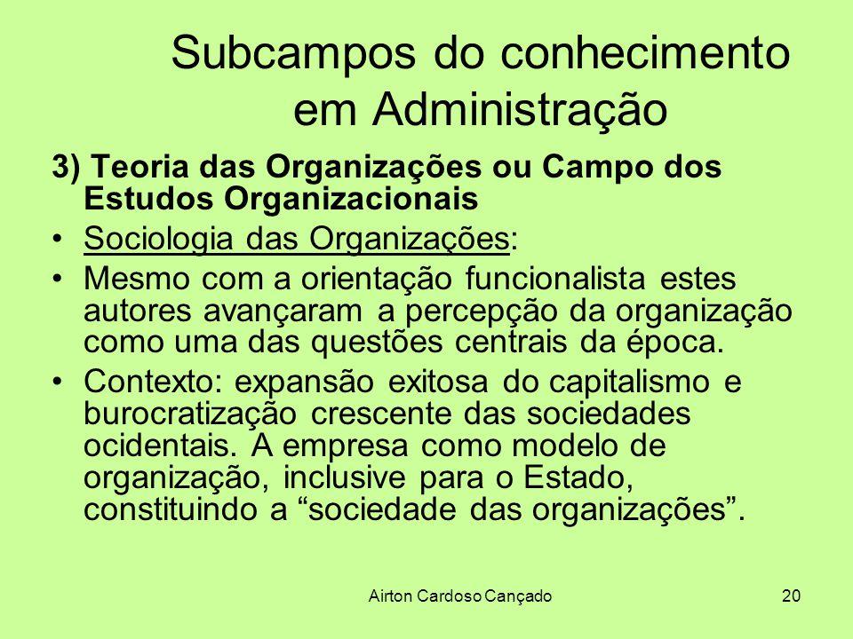 Airton Cardoso Cançado20 Subcampos do conhecimento em Administração 3) Teoria das Organizações ou Campo dos Estudos Organizacionais Sociologia das Org