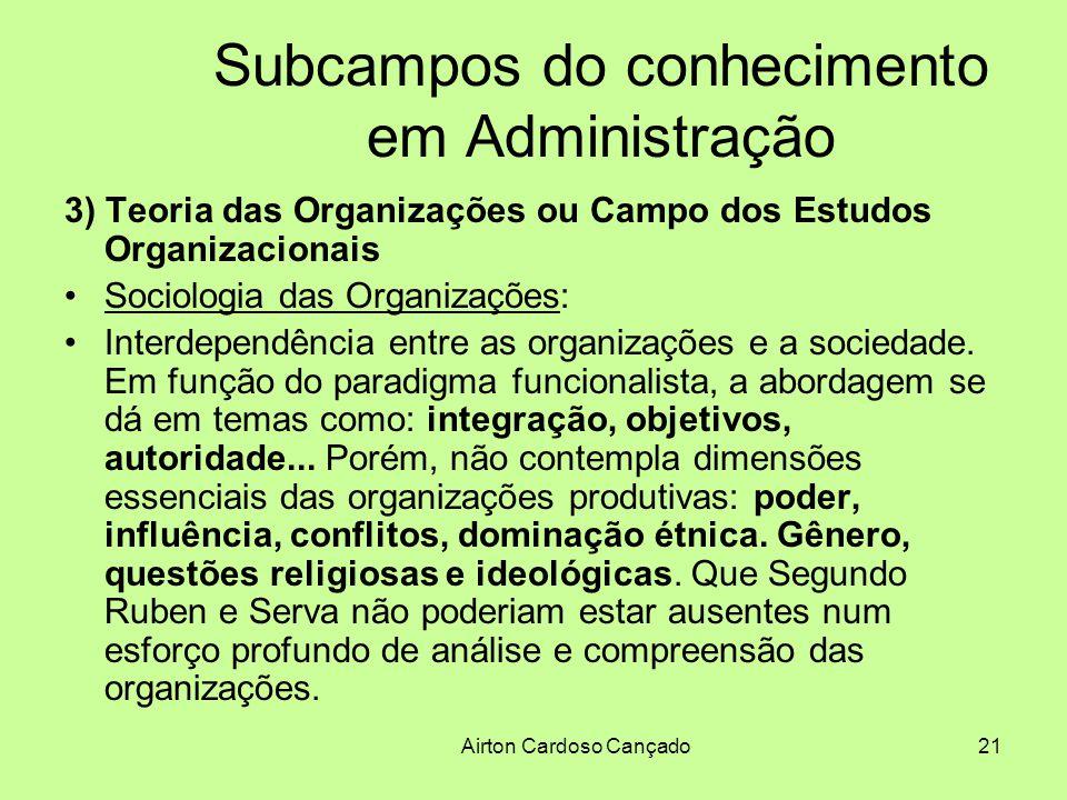 Airton Cardoso Cançado21 Subcampos do conhecimento em Administração 3) Teoria das Organizações ou Campo dos Estudos Organizacionais Sociologia das Org