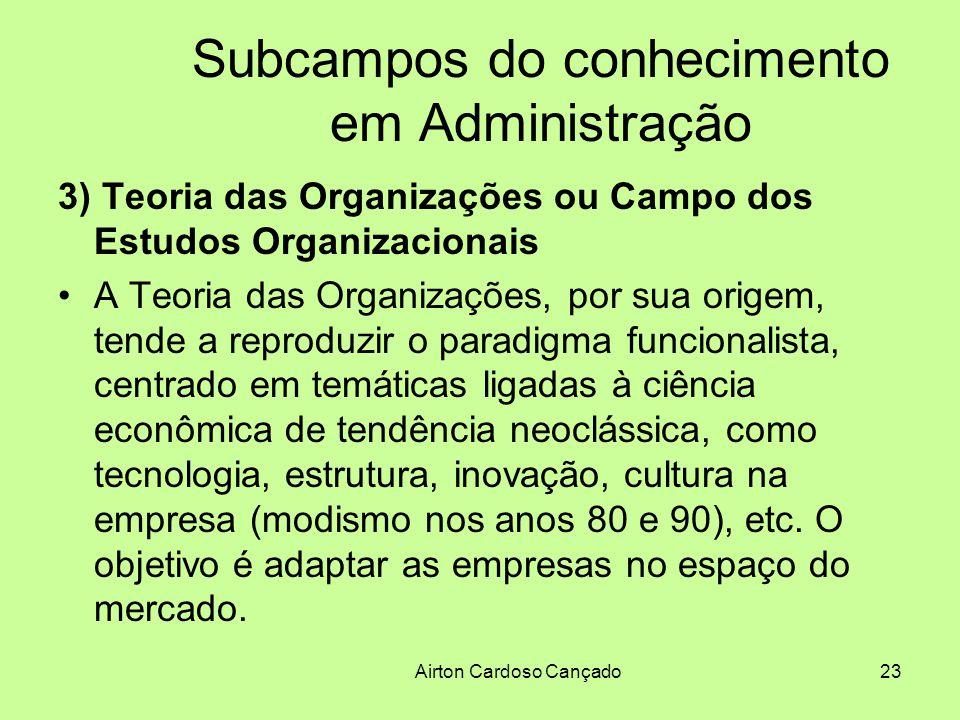 Airton Cardoso Cançado23 Subcampos do conhecimento em Administração 3) Teoria das Organizações ou Campo dos Estudos Organizacionais A Teoria das Organ