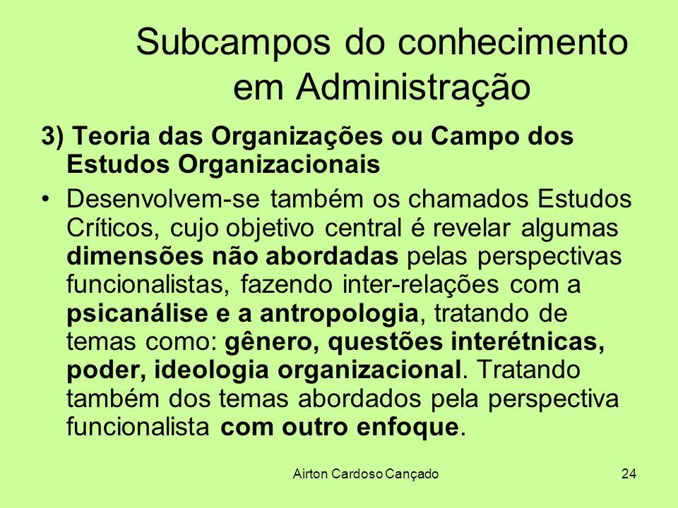Airton Cardoso Cançado24 Subcampos do conhecimento em Administração 3) Teoria das Organizações ou Campo dos Estudos Organizacionais Desenvolvem-se tam