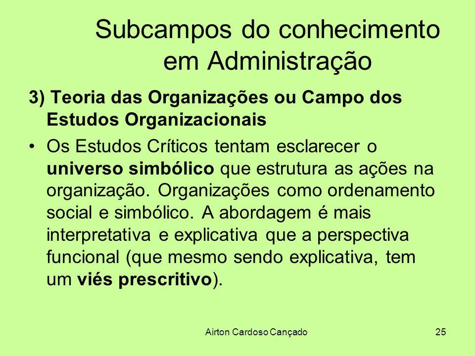 Airton Cardoso Cançado25 Subcampos do conhecimento em Administração 3) Teoria das Organizações ou Campo dos Estudos Organizacionais Os Estudos Crítico