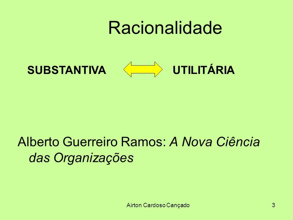 Airton Cardoso Cançado14 Subcampos do conhecimento em Administração 3) Teoria das Organizações ou Campo dos Estudos Organizacionais Tenta responder a perguntas como: O que é o universo organizacional.