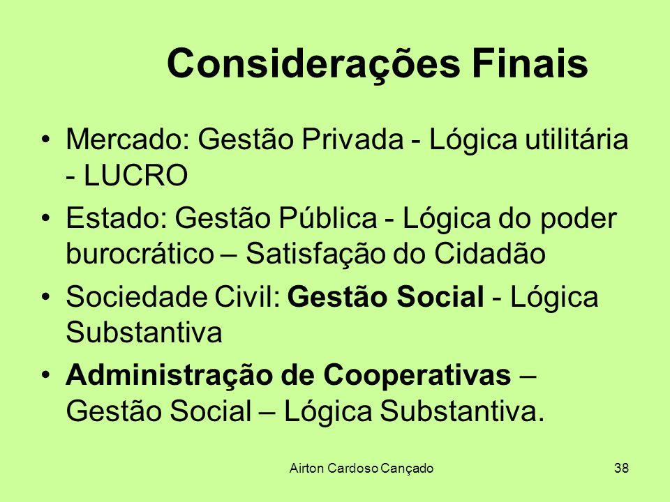 Airton Cardoso Cançado38 Considerações Finais Mercado: Gestão Privada - Lógica utilitária - LUCRO Estado: Gestão Pública - Lógica do poder burocrático