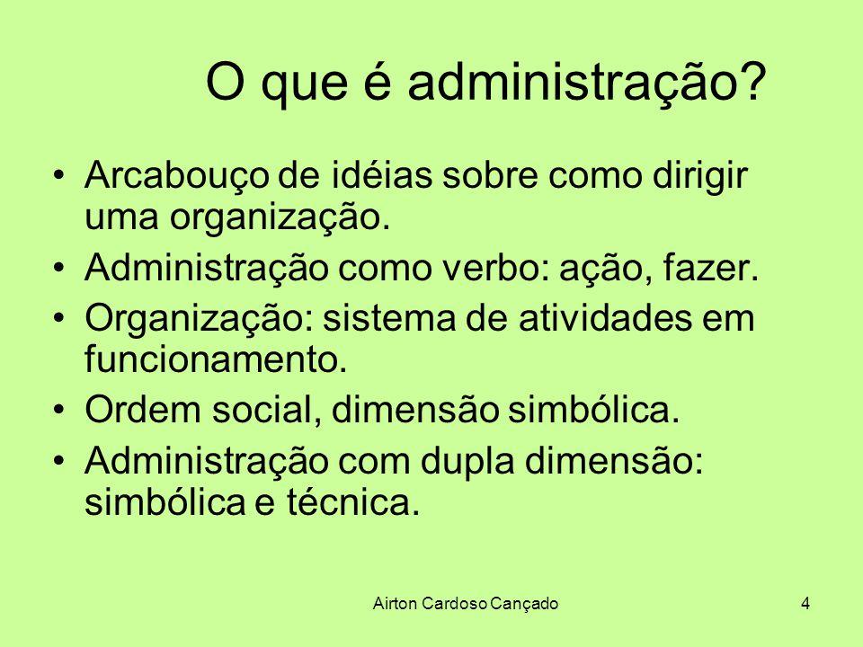 Airton Cardoso Cançado4 O que é administração? Arcabouço de idéias sobre como dirigir uma organização. Administração como verbo: ação, fazer. Organiza