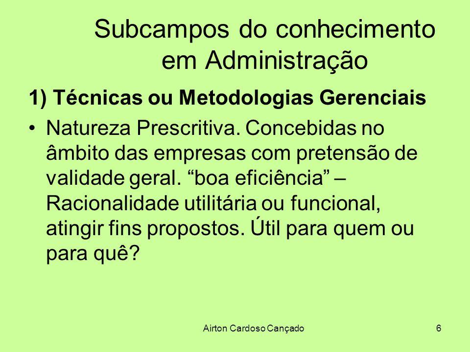 Airton Cardoso Cançado27 Subcampos do conhecimento em Administração Pluralidade de Idéias no estudo da Administração.