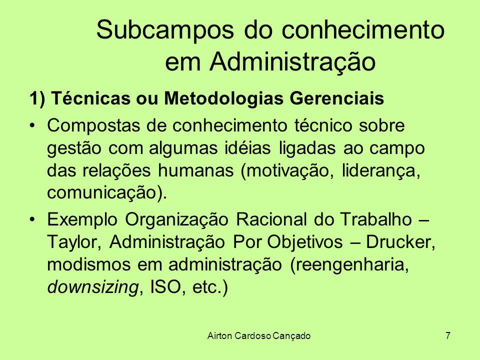 Airton Cardoso Cançado8 Subcampos do conhecimento em Administração 1) Técnicas ou Metodologias Gerenciais Construção do conhecimento baseada nos resultados, que se confunde com metodologias de ação pragmáticas.