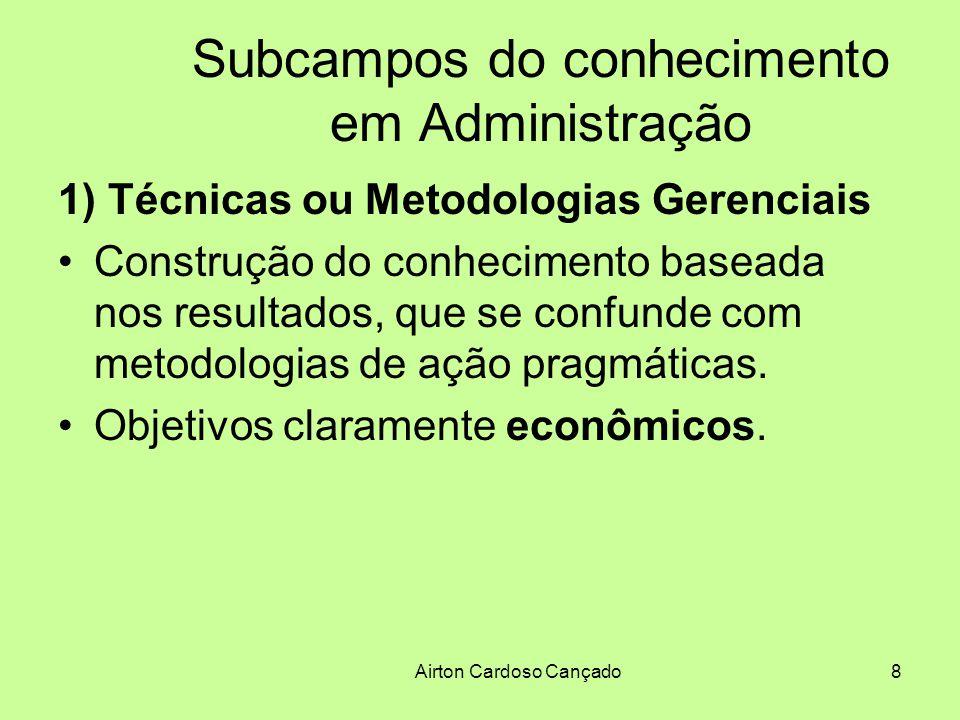 Airton Cardoso Cançado9 Subcampos do conhecimento em Administração 2) Áreas Funcionais Compartilham com as técnicas gerenciais a natureza prescritiva, o sentido pragmático das idéias e a natureza prescritiva do conhecimento.