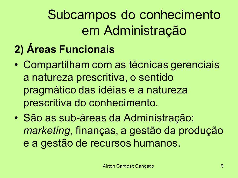 Airton Cardoso Cançado10 Subcampos do conhecimento em Administração 2) Áreas Funcionais Estes conteúdos estruturam em larga escala os currículos de Administração.