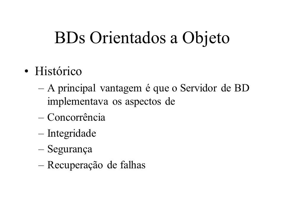 BDs Orientados a Objeto Histórico –A principal vantagem é que o Servidor de BD implementava os aspectos de –Concorrência –Integridade –Segurança –Recuperação de falhas