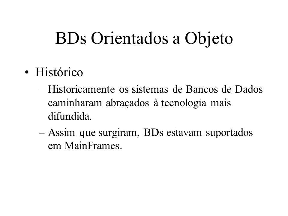 BDs Orientados a Objeto Histórico –Para compreender melhor é necessária uma rápida visita à arquitetura MainFrame: Aplicação SGBD BD Terminal MainFrame