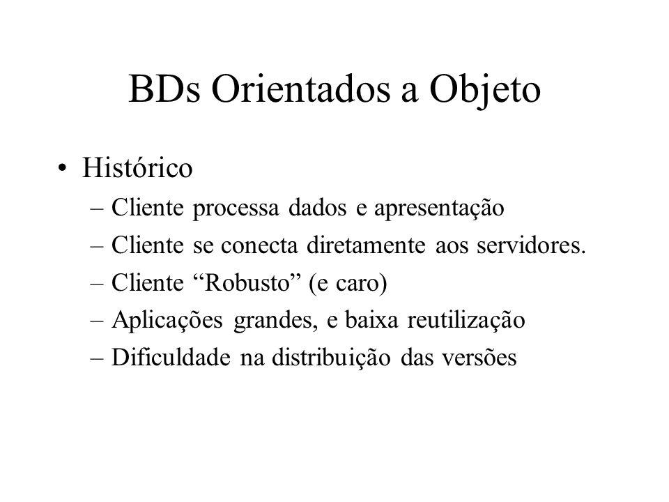 BDs Orientados a Objeto Histórico –Cliente processa dados e apresentação –Cliente se conecta diretamente aos servidores.