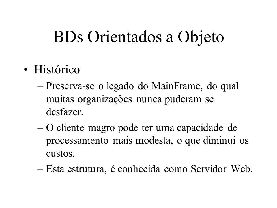 BDs Orientados a Objeto Histórico –Preserva-se o legado do MainFrame, do qual muitas organizações nunca puderam se desfazer.