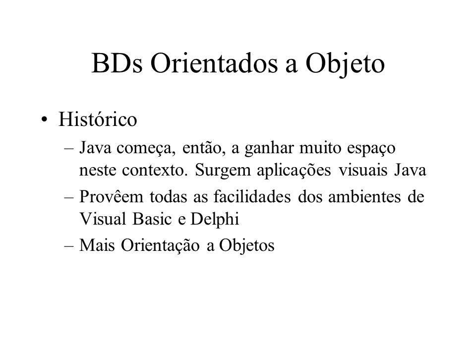 BDs Orientados a Objeto Histórico –Java começa, então, a ganhar muito espaço neste contexto.