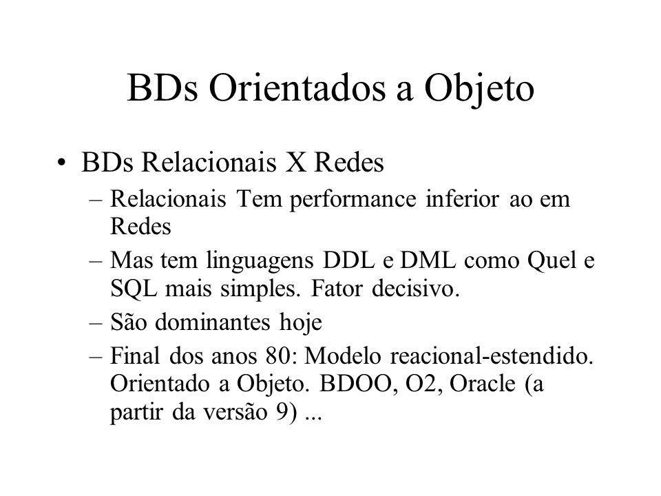 BDs Orientados a Objeto BDs Relacionais X Redes –Relacionais Tem performance inferior ao em Redes –Mas tem linguagens DDL e DML como Quel e SQL mais simples.