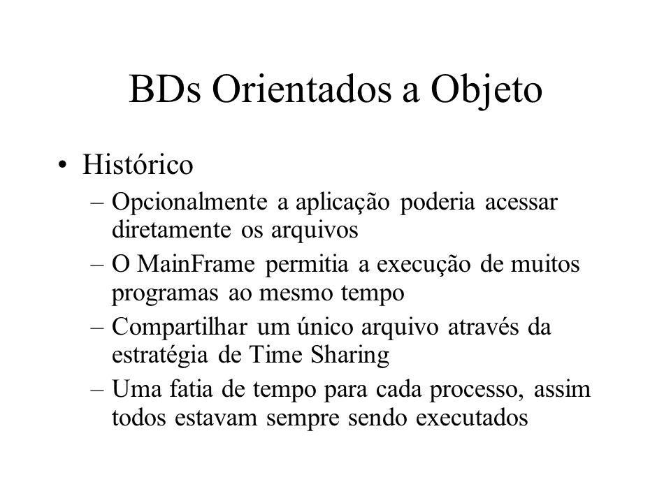 BDs Orientados a Objeto Relacionais Estendidos –Um BD relacional sob uma casca orientada a objeto –OIDs –Métodos –Classes –Ex: PostGres