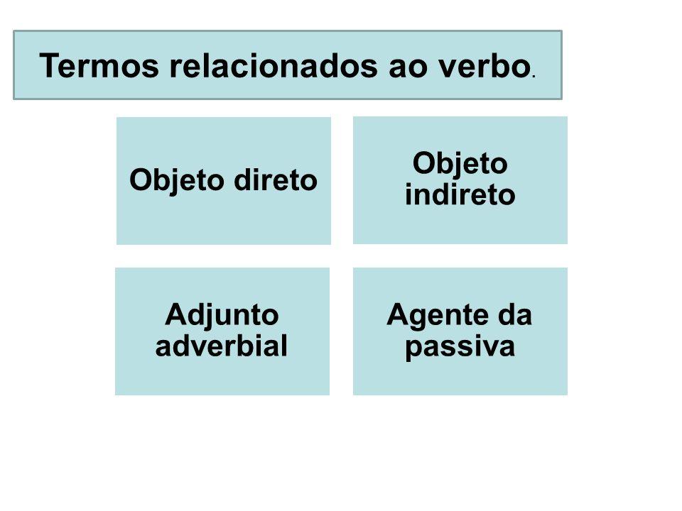 Termos relacionados ao verbo. Objeto direto Objeto indireto Adjunto adverbial Agente da passiva