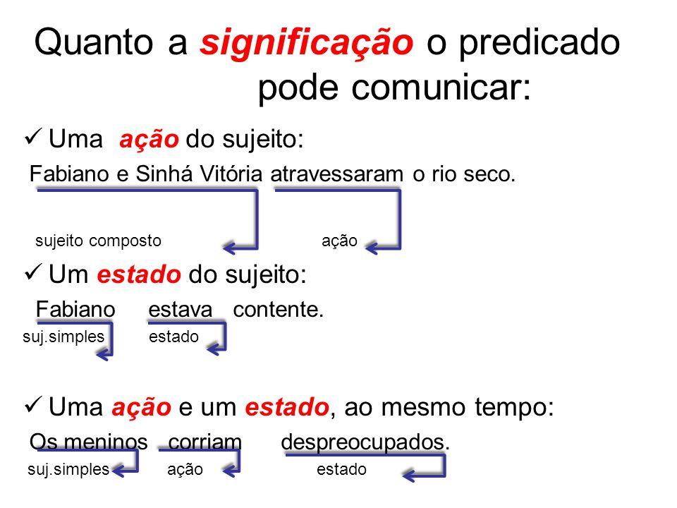 Quanto a significação o predicado pode comunicar: Uma ação do sujeito: Fabiano e Sinhá Vitória atravessaram o rio seco.