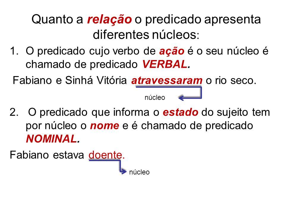 Quanto a relação o predicado apresenta diferentes núcleos : 1.O predicado cujo verbo de ação é o seu núcleo é chamado de predicado VERBAL.