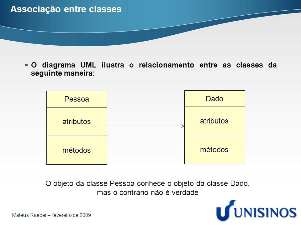 Mateus Raeder – fevereiro de 2009 Associação entre classes  O diagrama UML ilustra o relacionamento entre as classes da seguinte maneira: Pessoa atributos métodos Dado atributos métodos O objeto da classe Pessoa conhece o objeto da classe Dado, mas o contrário não é verdade