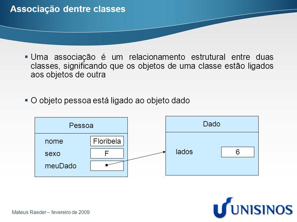 Mateus Raeder – fevereiro de 2009 Associação dentre classes  Uma associação é um relacionamento estrutural entre duas classes, significando que os ob